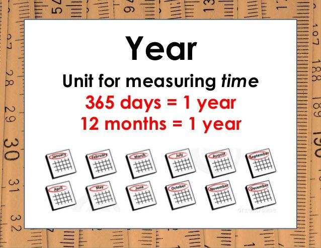 Year Unit for measuring time 365 days = 1 year 12 months = 1 year