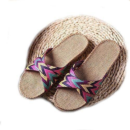 Oferta: 6.81€. Comprar Ofertas de EULAGPRE Zapatillas de lino Zapatos de piso Zapatillas de Cinturón Cruzado Silent Sweat Sandalias de Mujer de Verano barato. ¡Mira las ofertas!