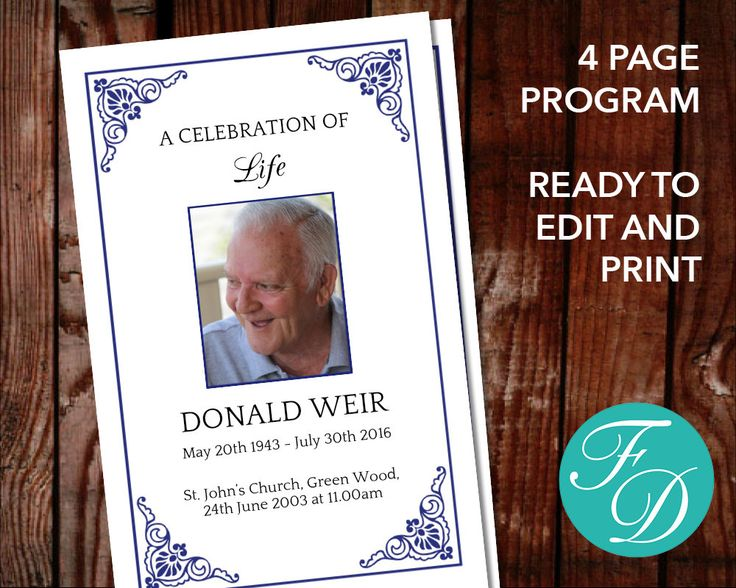 64 best Blue Funeral program Templates images on Pinterest - memorial service template word