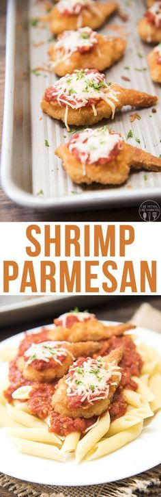 A delicious twist on chicken parmesan, with battered shrimp topped with a simple marinara sauce and melty cheese. This shrimp parmesan is a dish everyone will enjoy!