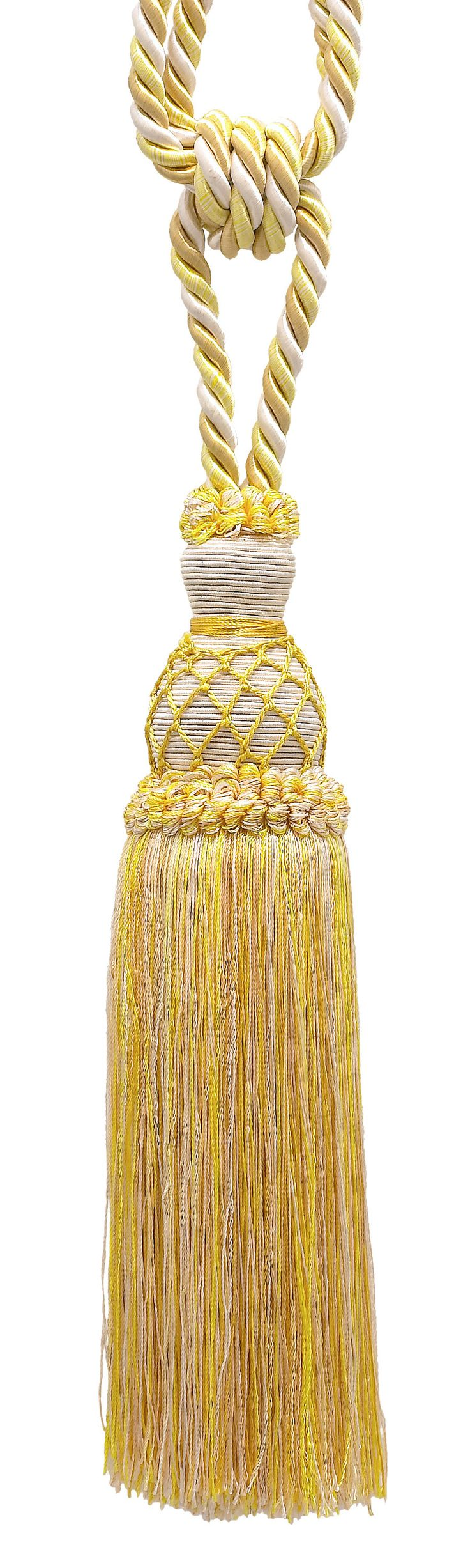"""Elegant Ivory, Yellow Gold Curtain & Drapery Tassel Tieback / 10"""" tassel, 30 1/2"""" Spread (embrace), 3/8"""" Cord, Imperial II Collection Style# TBIN-1 Color: WINTER SUN - 4874"""