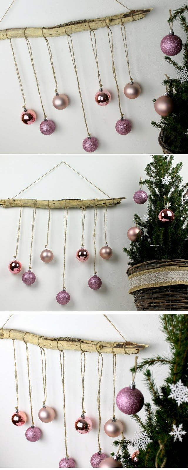 ☆ DIY ausgefallene, weihnachtliche Wanddekoration aus Treibholz mit Christbaumkugeln selber machen ☆