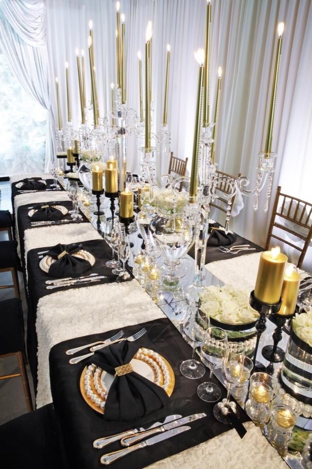 12 long wedding tables youll love black gold silver