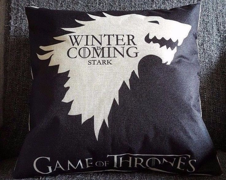 GAME OF THRONES  STARK CUSHION,WINTER IS COMING 18 x18 , With Hollowfibre Inner