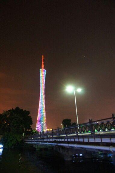 Canton/Guangzhou Tower (600 m) so beautiful at night, Guangzhou, China, 120415