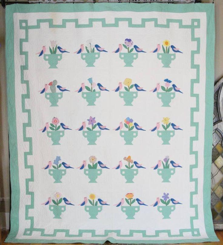 c1930 Birds & Urns Garden Bouquet Quilt Vintage Nancy Page - vintageblessings: Vintage Quilts, Quilts Vintage, Applique Quilts, Bouquets Quilts, Antiques Quilts, Vintage Sconces, Flowers Quilts, Vintage Nancy, Gardens Bouquets