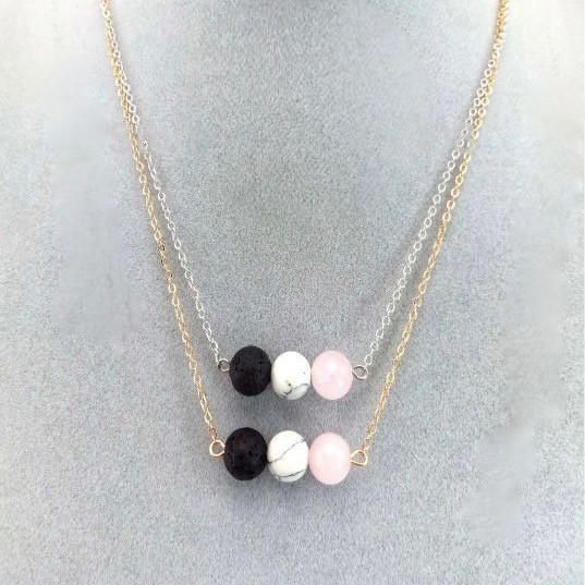 Our Tri Stone Necklace is an on trend way to beat the bugs. Naturally porous, Lava Stones are all natural...