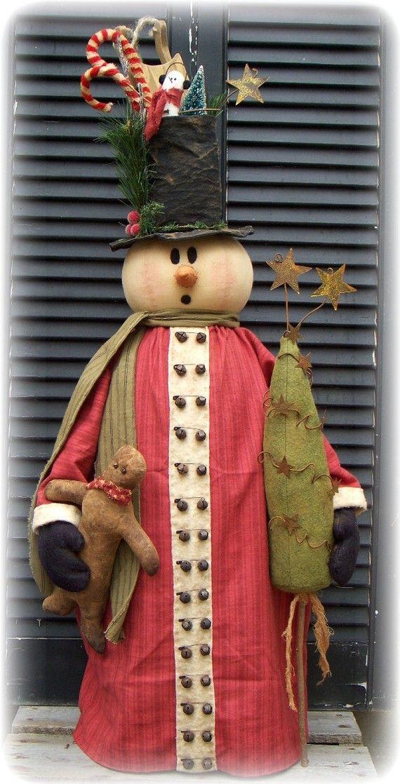 Primitive 36 Snowman Door Greeter E Pattern by CROWINGABOUTPRIM
