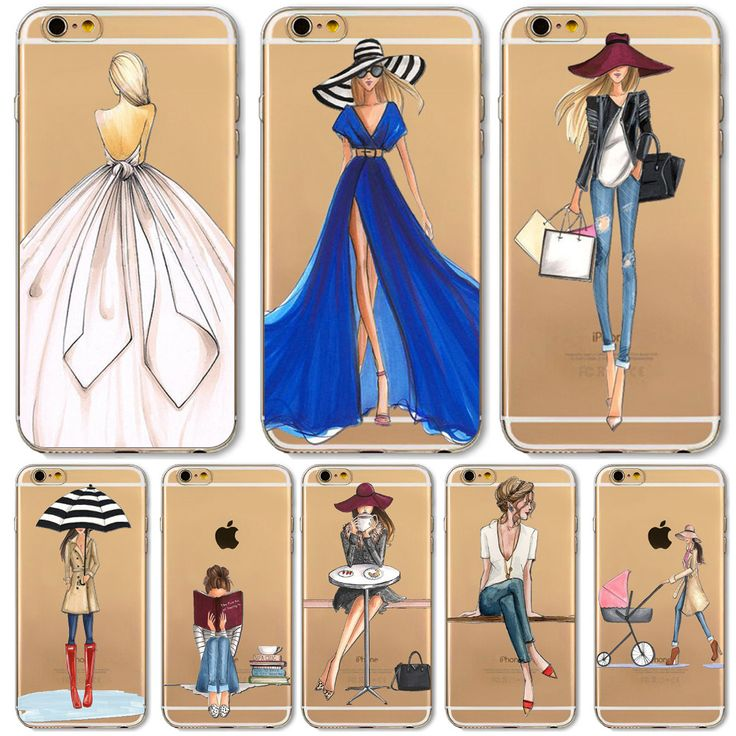Mobile Phone Case For iPhone 7 6 6s Plus 6Plus 4 4S 5 5S SE 5C Bag New Modern Dress Shopping Girl Transparent Soft TPU Cover -- Find similar products by clicking the VISIT button