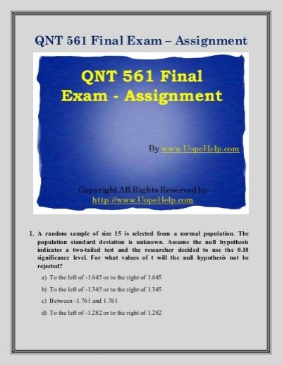 We bring to you the largest online platform to find 100% verified correct answers to the QNT 561 Final Exam UOP Course