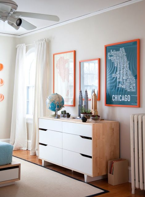 boys room // CHicago theme // orange and teal // mid century modern dresser *See more on 'Kids rooms' board.