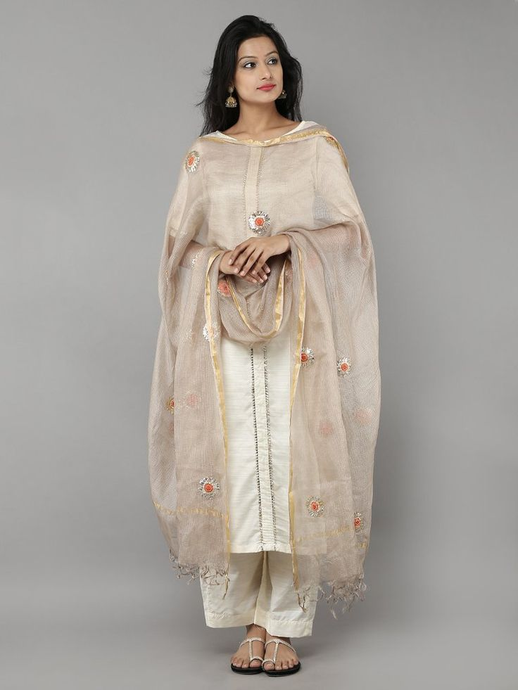 Golden Kota Silk Hand Embroidered Dupatta