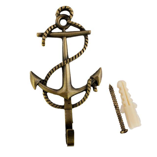 Mur Porte vêtements crochets Quotidienne Petit crochet en métal Pratique vêtements suspendus crochets taille 10.5*6*2 cm marin style la forme de anchor