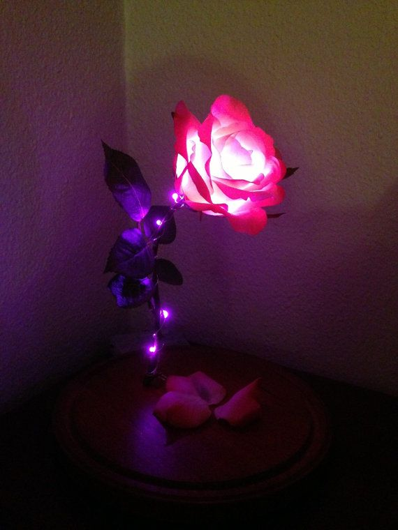 Beauty and the Beast Enchanted Rose Replica Lamp Light on Etsy ...