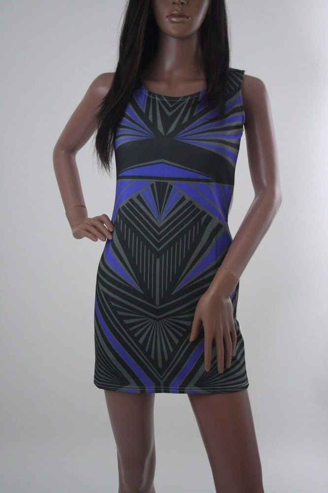 New womens sleeveless blue and white bodycon dress with aztec style print #Unbranded #StretchBodycon #Party