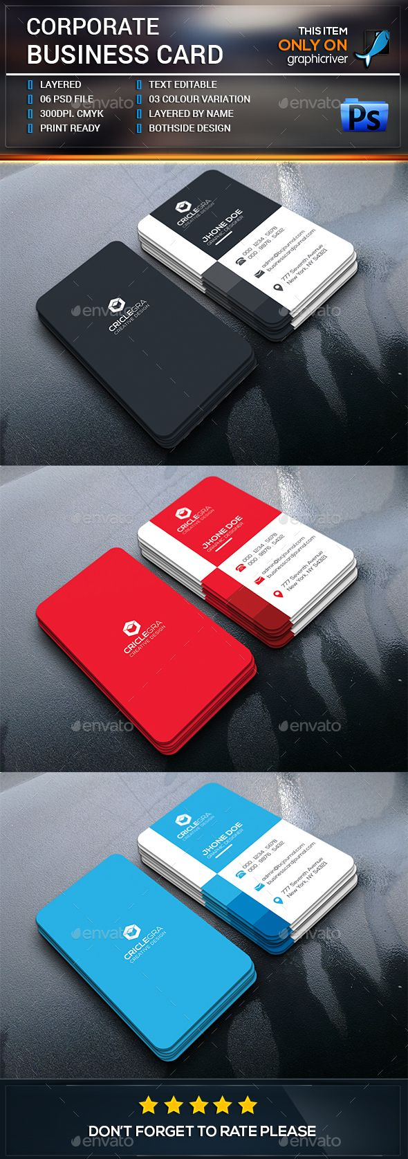 Corporate Business Card by see_art This is a Corporate Business Card Template. This template download contains a 300 dpi print-ready CMYK 06 psd files. All main elem