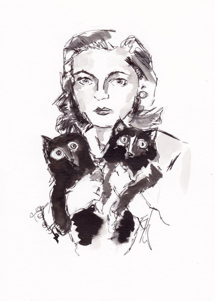 Lauren Bacall and Cats  #laurenbacall #cats #art #catart #penandink #vintage #originalart #homedecor #pets #etsy #vintagestyle #creative #wallart #painting #artpaintings #hollywoodstars #movies