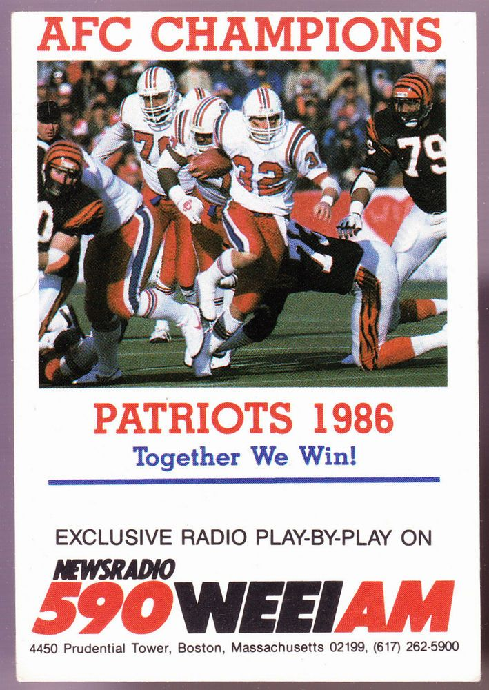 1986 NEW ENGLAND PATRIOTS WEEI RADIO 590 POCKET SCHEDULE FREE SHIPPING #Pocket #PocketSchedules