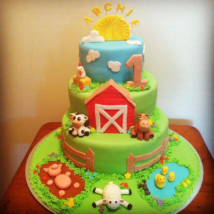 """Tammy on Instagram: """"Happy first birthday Archie #farmyard #farm #1stbirthday #farmyardanimals #farmyardcake #birthdaycake #birthdaycake #farmcake"""""""