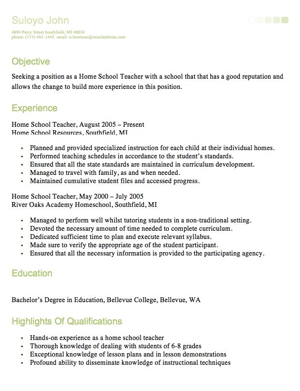 HomeSchool Teacher Resume -    resumesdesign homeschool - paraeducator resume sample