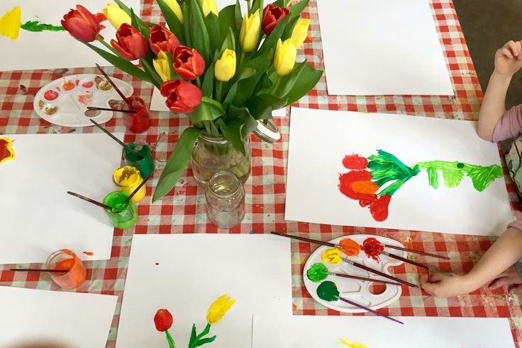 Tulpen schilderen @de spelende kleuter