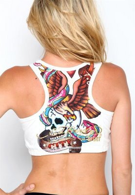 White Eagle and Skull Tattoo Women's Ed Hardy Sport