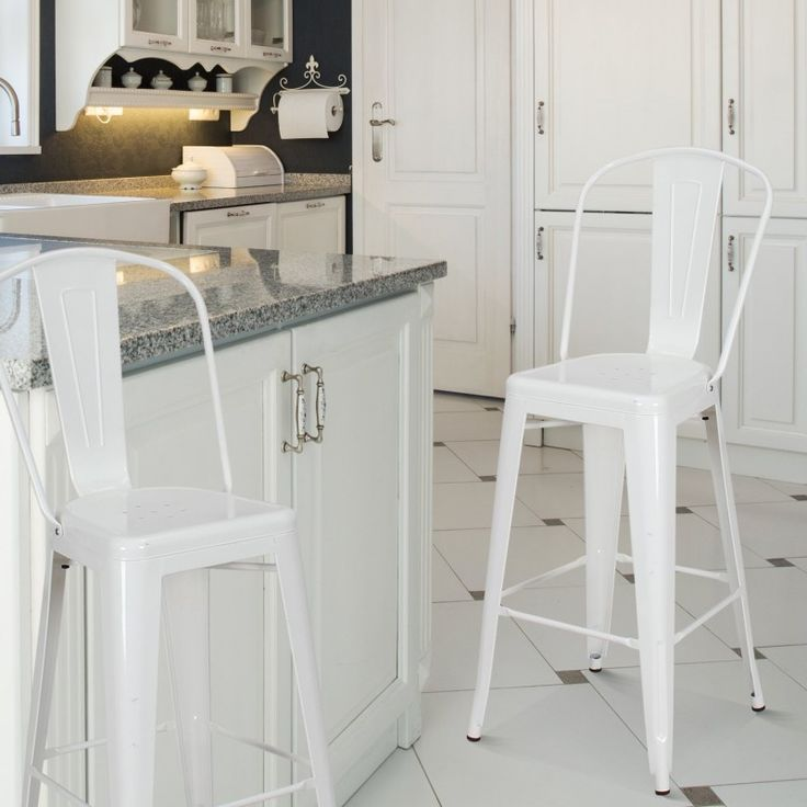 glossy white metal bar stools with back set of two - Metal Bar Stools With Backs