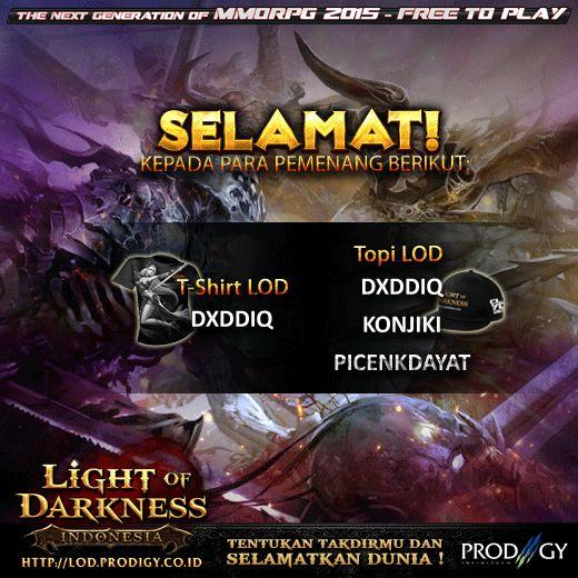 Light of Darkness Indonesia Selamat kepada pemenang event mingguan!