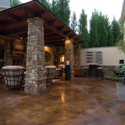 Patio Stained Concrete Design Ideas Pictures Remodel And