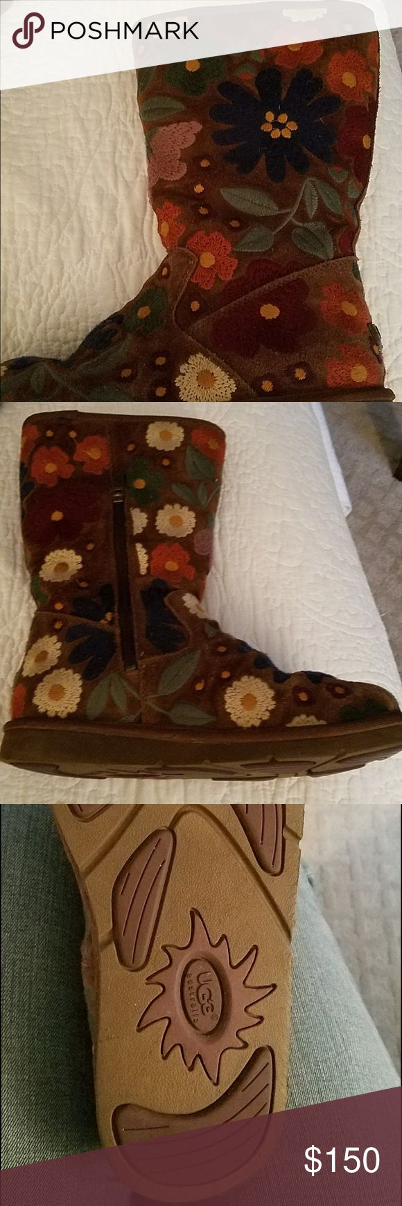 UGG Australia Wahine Boot Limited Edition Size 10 Beautiful floral embroidered rare UGG boots! Excellent condition , only worn twice. Not available on any retail sites! UGG Shoes