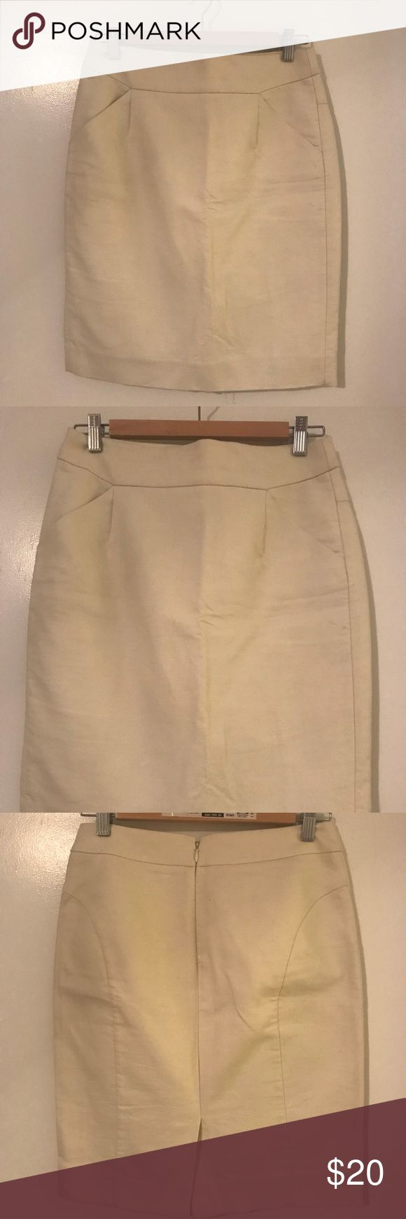 Pencil skirt (white) White Pencil skirt from JCrew (with tags). It hits right above the knee and is structured. It doesn't fit me and I never wore it, so it is in excellent condition. I wore the same one in black and other colors and always received compliments. Wish it fit!! Lol. J. Crew Skirts Pencil