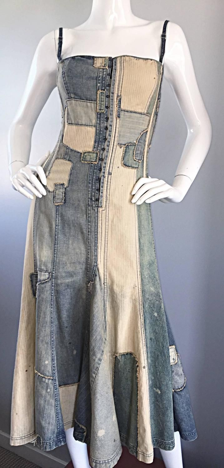 Rare Ralph Lauren ' Blue Label ' 1990s Patchwork Distressed Denim Corset Dress | From a collection of rare vintage day dresses at https://www.1stdibs.com/fashion/clothing/day-dresses/