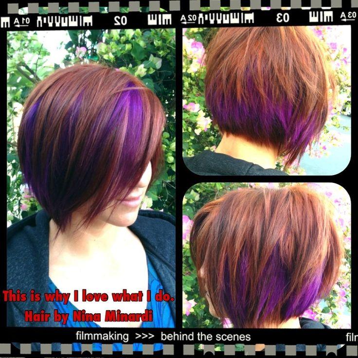 The art of color. Multidimensional Copper base color with super vibrant purple peekaboo block coloring. Super fun!
