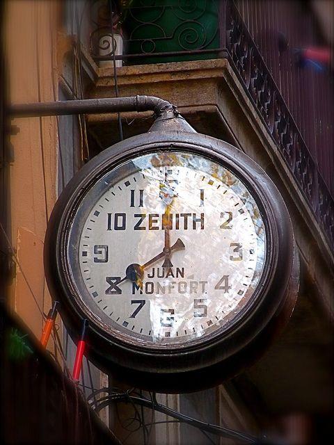 *: Street, Time, Clock Sign, Tic Toc, Fresh Air, Vintage Zenith, Zenith Clock, Tick Tock, Barcelona Spain