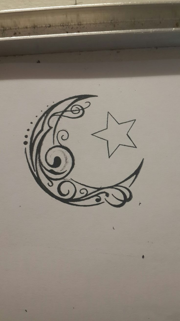 Crescent moon and star tribal swirl tattoo design