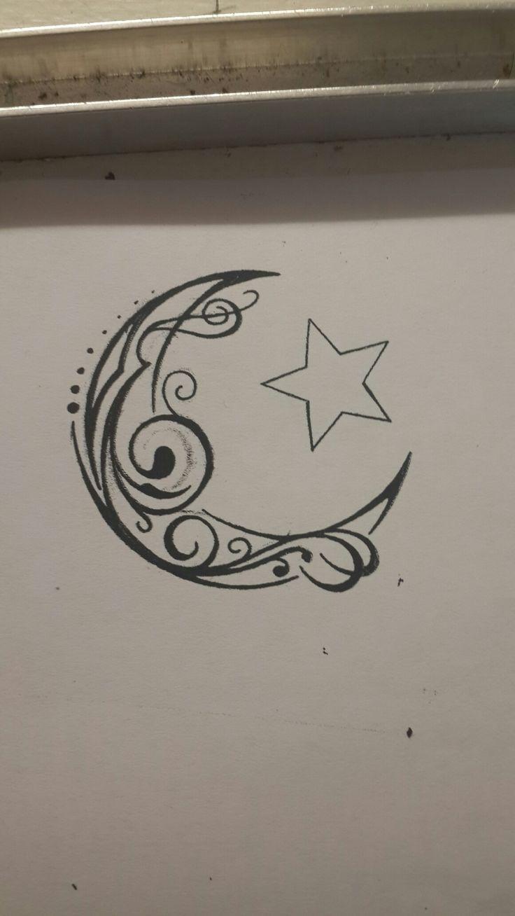 Crescent moon and star tribal swirl tattoo design
