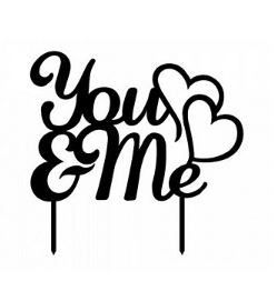 """You & Me"" Black Silhouette Cake Topper"