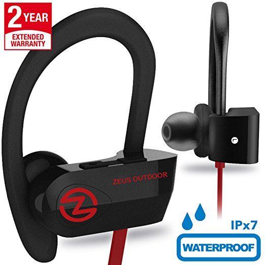 Wireless Bluetooth Headphones Zeus IMPROVED 2017 - Best Wireless Earbuds w/ Mic Noise Cancelling - Workout Headphones - Running Headphones - Sport Headphones - IPX7 Waterproof Headphones for Women Men