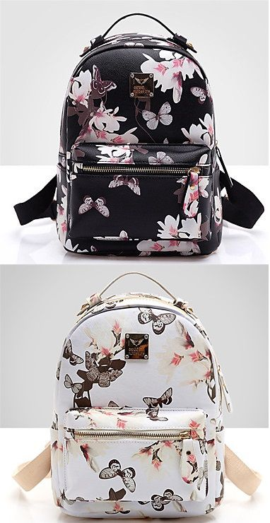 Butterflies all around having fun with these vintage backpacks <3 What's your favorite one: white or black? Click to get yours!