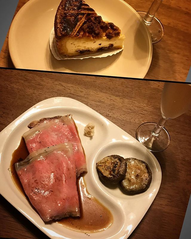 ローストビーフとゴルゴンゾーラしいたけのオードブルとデザートのバスク・オ・フロマージュ #オードブル #ローストビーフ  #牛肉 #beef  #和牛 #wagyu  #肉 #ロース #西洋わさび  #グレイビーソース  #しいたけ  #ゴルゴンゾーラ#チーズ #醤油 #しょうゆ  #ガトーバスク #クリームチーズ #バター #砂糖 #小麦粉 #スパークリングワイン  #wine #vin #ピノ・ノワール  #ビール #beer  #家飲み