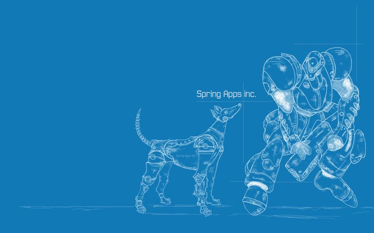And then after creating the dog which serves as a logo for Spring Apps, I created this wallpaper.