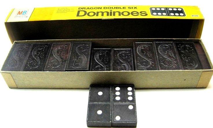 Milton Bradley Vintage 1970 Dominoes Dragon Double Six Model 4130 Made USA #MiltonBradley