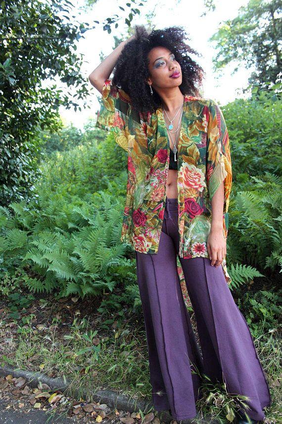 BOHO BEACH KIMONO, hippie hippy festival floaty summer kimono jacket, upcycled beach wear, plus size kimono, chiffon kimono jacket