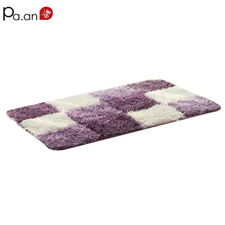 1 Pcs Europe Purple Microfiber Carpet 50x80cm Soft Plaid Rugs for Parlor Bedroom Bathroom Anti-Slip 720g Floor Mats Home Textile