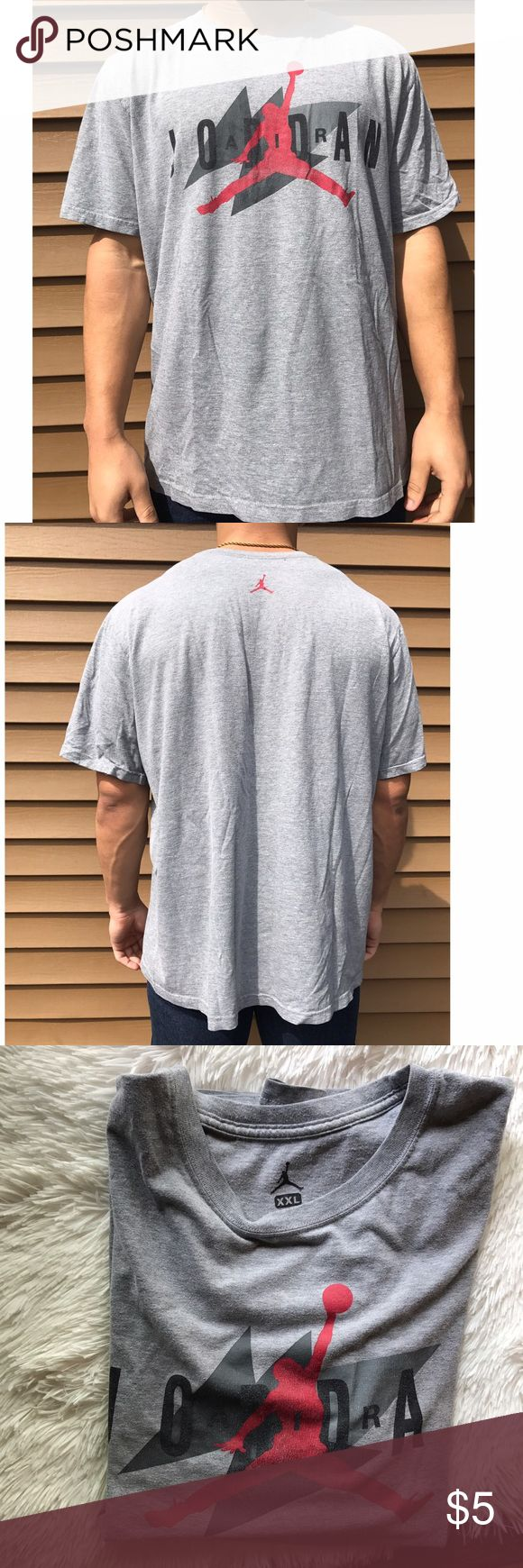 Jordan T-shirt, XXL, gray, flight Jordan T-shirt, XXL, gray, jumpman graphic. Shows normal wear Jordan Shirts Tees - Short Sleeve
