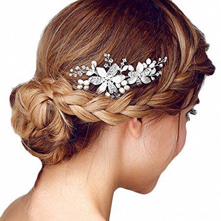 Miya-MEGA glamour sposa pettine capelli pettine con bella argento fiori decorato con perle e cristalli, gioielli da sposa matrimonio/Gioventù apertura cerimonia, forma yy03