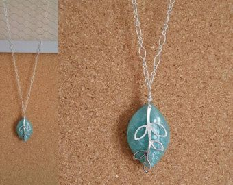 Amazonite and branch pendant necklace 20 length by StoneandSwan