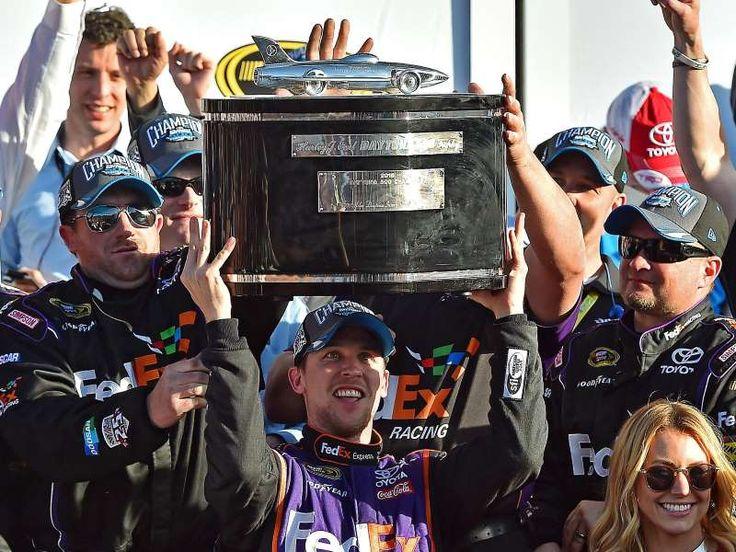 Best of the 2016 Daytona 500:     Denny Hamlin hoists the Harley J. Earl Trophy after  -   Denny Hamlin hoists the Harley J. Earl Trophy after winning the Daytona 500.
