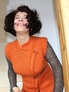 uncinetto moda e fantasia: maglione in lana con maniche in mohair e lurex.......