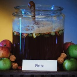 Large serving of Pimms